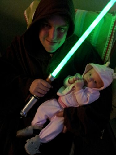 """Daddy and I being silly on Star Wars Day (May the Fourth)."""