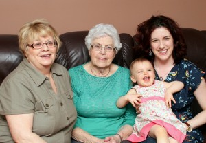 Four generations - Nana, Nanny Sturge, Missy Moo, and Mommy